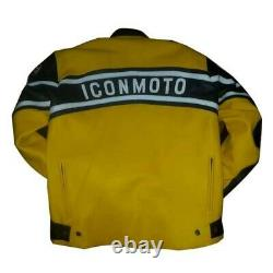 ICON MOTO Leathers Motorcycle Racing Motor Bike Leather Jacket, CE Approved Pad