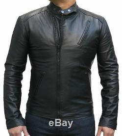 Iron Man Men Leather Biker jacket, Brand New Black Bomber Jacket Coat Designer