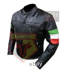 Italian Flag Custom 4600 Black Benelli Motorbike Bikers Cowhide Leather Jacket