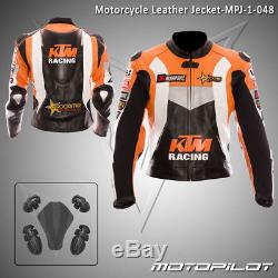 KTM Motorbike Motorcycle Rider Leather Jacket MPJ-001 (US 38,40,42,44,46,48)