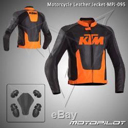 KTM Motorbike Motorcycle Rider Leather Jacket MPJ-095 (US 38,40,42,44,46,48)