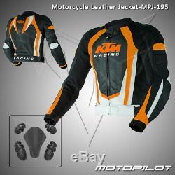 KTM Motorbike Motorcycle Rider Leather Jacket MPJ-195 (US 38,40,42,44,46,48)