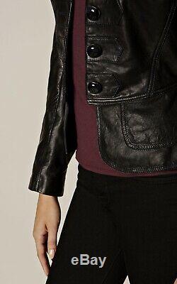 Karen Millen Drummer Boy Leather Jacket, Black, Size 10, BNWT, RRP£350, JZ038