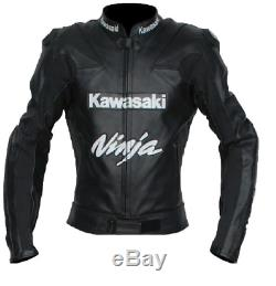 Kawasaki Black Jacket Black Racing Leather Jacket With Armours New Size 48,50,52
