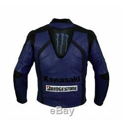 Kawasaki Ninja Motorcycle Cowhide Leather Street Racing Motorbike Jacket