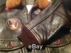 KidsYouthAvirex TOP GUN G-1 Leather Bomber Aviator Flight Jacket withPatches