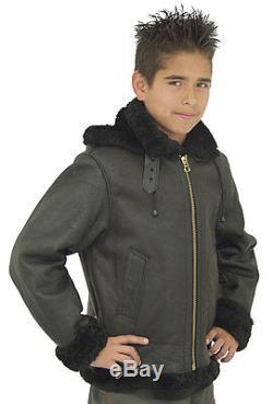 Kids B3 Aviation Bomber Jacket Made With Real Black Sheep Shearling Fur