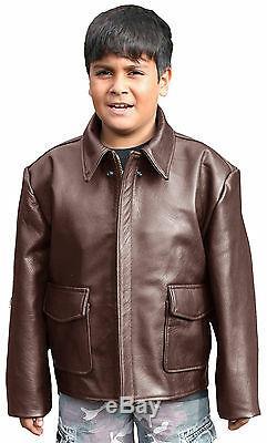 Kids Indiana Jones Style Leather Bomber Jacket (K-INDY)