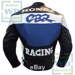 LEATHER BIKE JACKETS FOR MEN. Honda CBR Blue Motorbike Motor cycle Armoured Coat