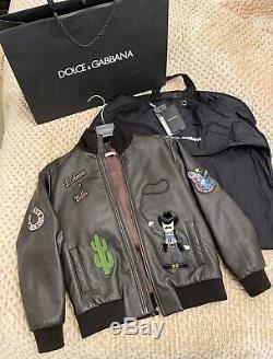 LIMITED EDITION Dolce gabbana Boys Leather Bomber Jacket size 9-10 RRP £1500