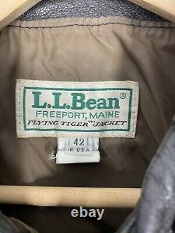 LL Bean Flying Tiger Type A-2 Goatskin Leather Jacket Made in USA Size 42 Large