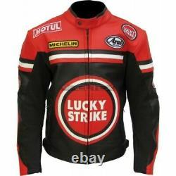 LUCKY STRIKE Racing Red Black Motorbike Motorcycle Armored Leather Biker Jacket