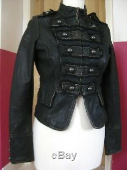Ladies real Leather Jacket UK 8 military steampunk goth drummer boy distressed