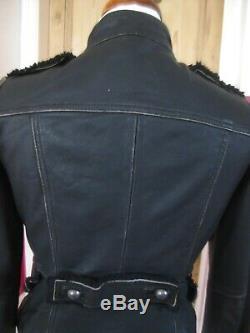 Ladies real Leather Jacket UK 8 military steampunk goth drummer boy distressed
