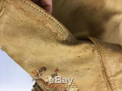 Leather Jacket Pioneer Cowboy Fringe Boys Stamped Crockett Western Small
