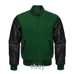 Letterman Bomber Varsity Forest Green Wool & Black Real Leather Sleeves Jacket