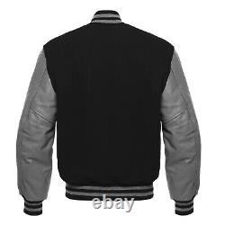 Letterman Varsity Bomber Baseball Jacket Black Wool & Gray Leather Sleeves