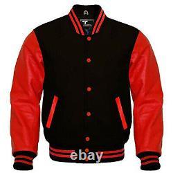 Letterman Varsity Bomber Baseball Jacket Black Wool & Red Leather Sleeves