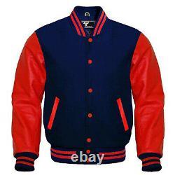 Letterman Varsity Bomber Baseball Jacket Navy Blue Wool & Red Leather Sleeves