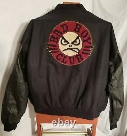 Lifes A Beach SurfGear Vintage Black Leather And Wool Bad Boy Club Jacket XL