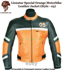 LionStar Orange Top Quality Motorbike Motorcycle Real Leather Jackets (5 Styles)