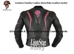 Lionstar Panther Ladies Motorbike Motorcycle Real Leather Jacket CE Approved