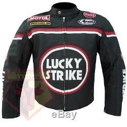 Lucky Strike 0113 Black Motorbike Cowhide Leather Motorcycle Armoured Jacket