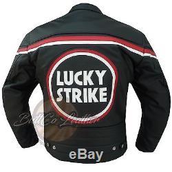 Lucky Strike 0113 Black Motorcycle Motorbike Biker Racing Leather Armour Jacket