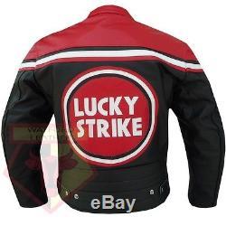 Lucky Strike 0113 Motorbike Red/black Cowhide Leather Motorcycle Armoured Jacket