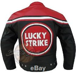 Lucky Strike 0113 Red Motorcycle Motorbike Biker Racing Leather Armoured Jacket