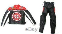 Lucky Strike Michelen Motorbike Motocycle Leather Jacket Protection Red Large