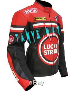 Lucky Strike Motorcycle Moto Gp Motorbike Racing Leather Riding Jacket