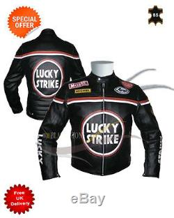 Lucky strike motorbike leather jacket black racing leather jacket biker jacket