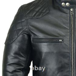 MENS BLACK LEATHER JACKET 100% REAL VINTAGE BIKER Style SLIM FIT Leather JACKET