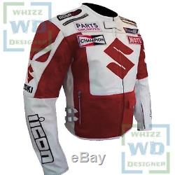 MENS MOTORCYCLE JACKETS WITH ARMOR. Suzuki 4269 ICON Red Biker Motorbike Coat