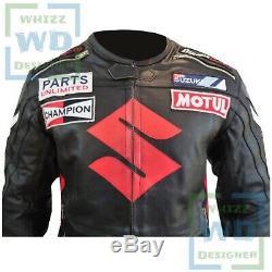 MENS MOTO JACKET Men Suzuki ICON Black Riding Leather Gear Biker Motorcycle Coat