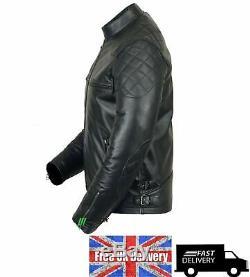 MENS VINTAG LEATHER JACKET 100% REAL BLACK BIKER Style SLIM FIT Leather JACKET