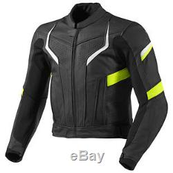 MEN Motorcycle Protective Leather Jacket Cowhide Motorbike Racing ALL-SIZES