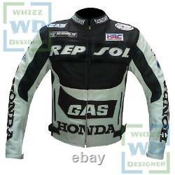 MOTORCYCLE JACKET MENS. Black Honda Gas Motor Riding biker Gear Leather Armoured