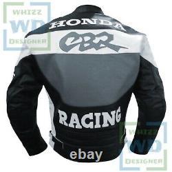 MOTORCYCLE JACKET SALE. Honda CBR Grey Motorbike Coat Leather Armour Biker Gear