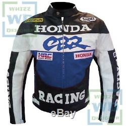MOTORCYCLE RIDING JACKETS FOR MEN. Honda CBR Motorbike Blue Coat Leather Armour