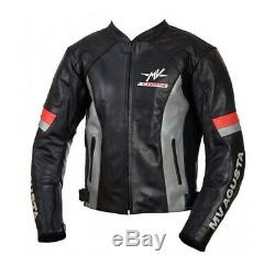 MV AGUSTA CORSE Motorbike Motorcycle Leather Biker Jacket CE Armored Black GREY