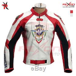 MV Agusta Motorbike CE Armour Motorcycle Race Leather Jacket All Size Available