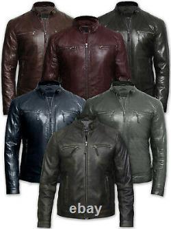 Men Classic Leather Jacket Fitted Zipped Pocket Real Cafe Racer Vintage Design