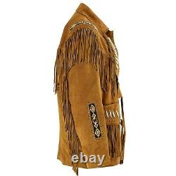 Men Cowboy Native Style Suede Leather Jacket Brown Coat with Fringes and Beads