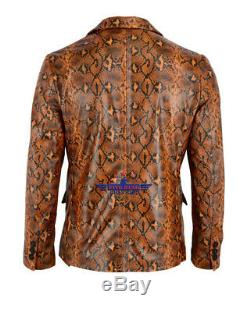 Men Fashion Real Leather Python Snake Cobra Textured Blazer Jacket Two Button