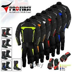 Men Motorcycle Suit Off Road Set Motorbike Clothing Leather Boots Jacket Trouser