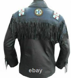 Men Native American Fringe Jacket Eagle Beaded Real Leather Western Coat Black