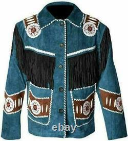 Men Native American Western Wear Suede Leather Coat Fringes & Beaded Jacket Blue