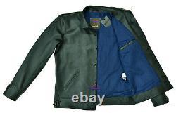 Men Real Goatskin Brakeman Coat Jacket Standup Shawl Collar Vintage Front Button